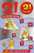 Humorous 21st Birthday Card with Badge